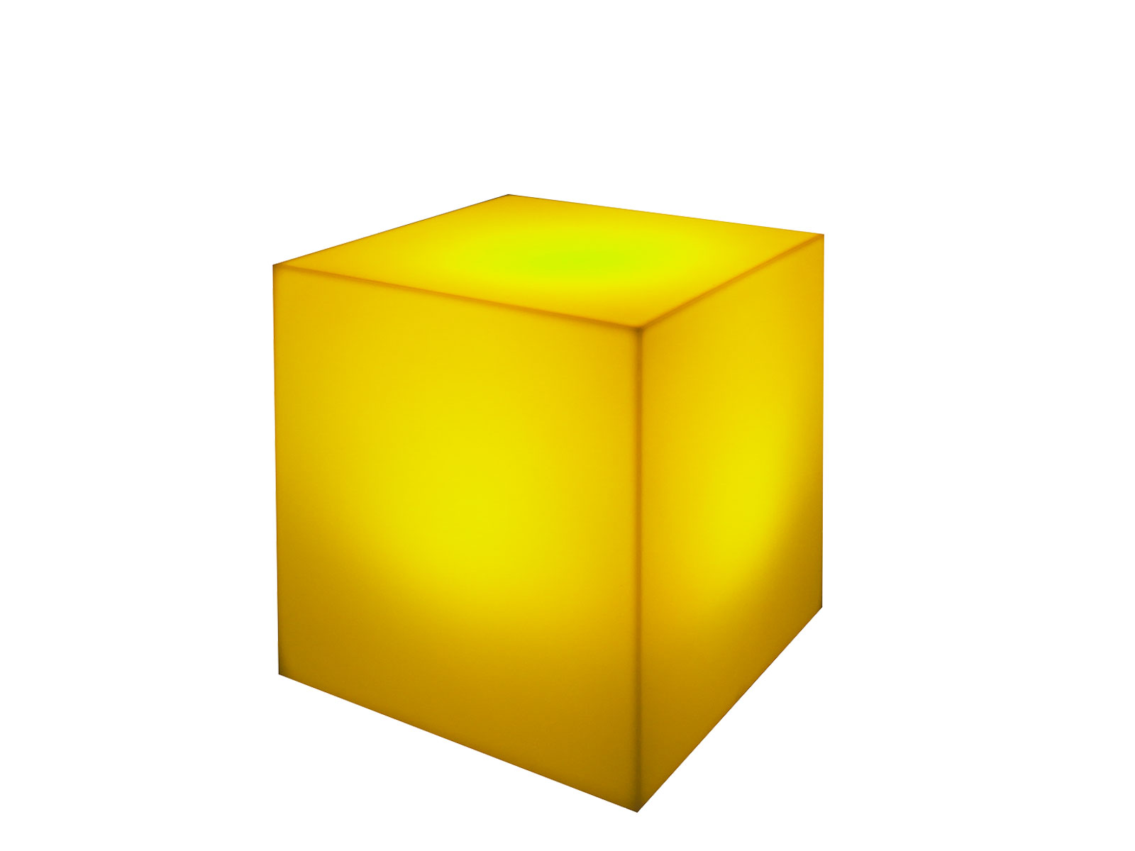 Yellow | LED Cube Ottoman -- Trade Show Furniture Rental