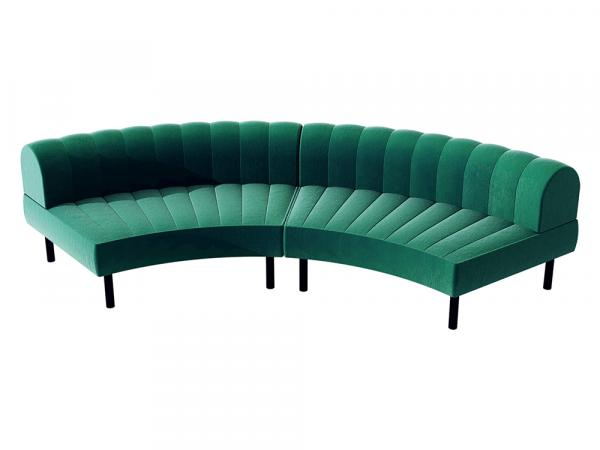 Endless Large Curve Low Back Loveseat -- Trade Show Furniture Rental