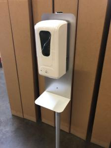 (100) MOD-9004 Hand Sanitizer Stands with Stainless Steel Mounting Plates/Drip Trays and Automatic Touch-Less Sanitizer Dispensers